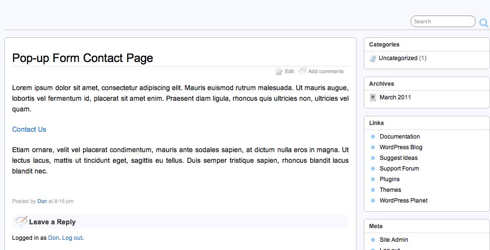 Ссылка на форму 'Contact Us' в WordPress